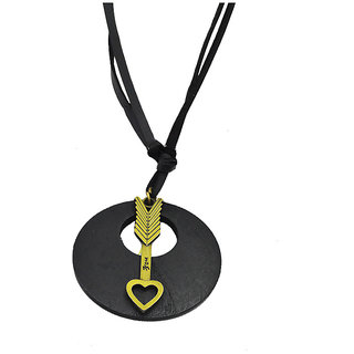 Sullery Heart Love Arrowc Necklace with Adjustable Leather Cord  Pendant Necklace