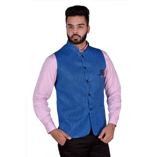 OORA  Men's Blue Color Woven Cotton Blend Nehru and Modi Jacket Ethnic Style Bandhgala For Party Wear