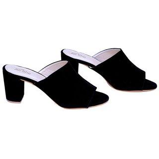 194f12a4e728 Buy AnShe Girls   Women s Durable Soft Velvet Leather Peep Toe 3 inch Block  Heel Fashion Sandals   Footwears Online - Get 44% Off