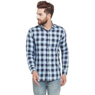Pacman Light Blue Checkered Smart Slim Fit Mens Formal Cotton Shirt SHFS0134