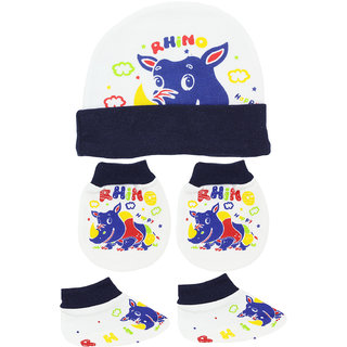 Neska Moda Baby Navy Mittens,Booties with Cap (3 Pcs Combo Set) for 0 to 6 Months MT65