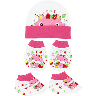 Neska Moda Baby Pink Mittens,Booties with Cap (3 Pcs Combo Set) for 0 to 6 Months MT70
