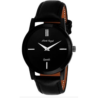 Mark Regal Round Black Dail Black Leather Strap Analog Watch For Mens
