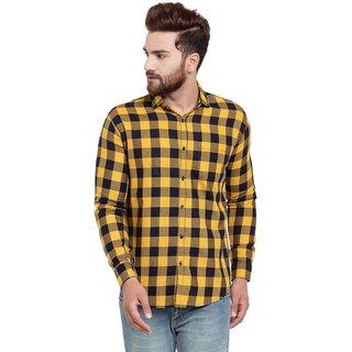 Pacman Yellow Checkered Smart Slim Fit Mens Formal Cotton Shirt SHFS0139