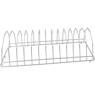 LAMBOSTO Stainless Steel Square Plate Rack/Stand 1-Piece Capacity - 13 Plates Stainless Steel Kitchen Rack (Steel)