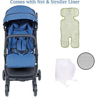Polka Tots The Trolley Stroller Compact Portable Soft Comfortable Safe Shockproof Pram for Babies Blue