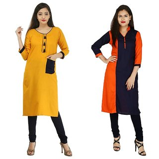 Boutique Ever Mustard color And Blue Orange Color Two Combo Kurti in rayon  fabric (Combo)