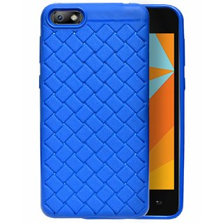 ECellStreet Texture Pattern Soft Cusion Padding Case Back Cover for Micromax Bharat 5 - Blue
