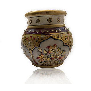 DECORATIVE MARBLE FLOWER POT / MARBLE EMBOSSED VASES / MARBLE PAINTING FLOWER POTS