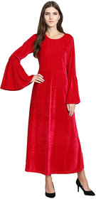 Raabta Fashion Rani Pink Velvet Bell Sleeve Long Dress