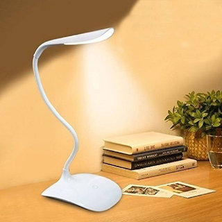 Stylopunk Flexible, Rechargeable LED Table Lamp - Table Lamp for Study - Touch Dimmer - Rock Light RL 9999, White