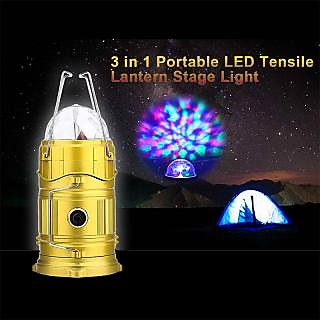 Colorful Disco Lights + Egg shape Tube + 1w Rechargeable LED Energy Camping Lantern with Torch USB Interface Round Plug +Solar Power Bank for Cell Phone Tablet Outdoor Trekking Hiking Tent Fishing(1-Piece)