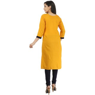 Boutique Ever Beige color kurti and Mustard Color Kurti combo set in rayon  fabric (Combo)
