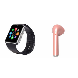 Zemini GT08 Smart Watch and HBQ I7R Bluetooth Headphone for SAMSUNG GALAXY J 2(GT08 Smart Watch with 4G sim card, camera, memory card |HBQ I7R Bluetooth Headphone  )