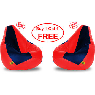 Beanbagwala XL REDNAVY BLUE BEAN BAG-COVERS(Without Beans)-Buy One Get One Free