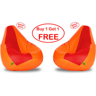 Beanbagwala XL RED&ORANGE BEAN BAG-COVERS(Without Beans)-Buy One Get One Free