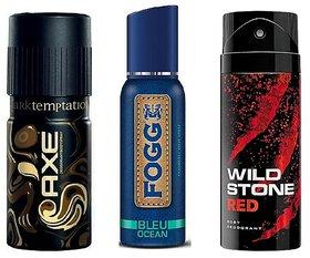 AXE+FOGG+Wild Stone (Deodorants Pack Of 3)- Mix variants