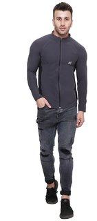 iSHU Grey Black Strip Polyster Lycra Sports Jackets