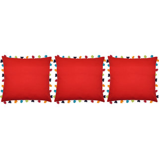 Lushomes Tomato Cushion Cover with Colorful tassels (3 pcs, 24 x 24)