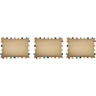Lushomes Sand Cushion Cover with Colorful tassels (3 pcs, 14 x 20)
