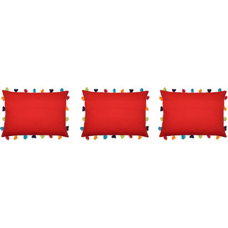 Lushomes Tomato Cushion Cover with Colorful tassels (3 pcs, 14 x 20)