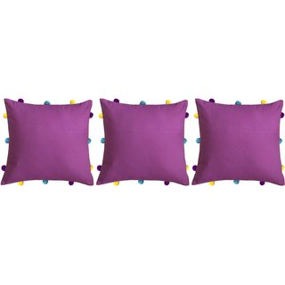 Lushomes Bordeaux Cushion Cover with Colorful pom poms (3 pcs, 12 x 12)