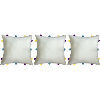Lushomes Ecru Cushion Cover with Colorful pom poms (3 pcs, 12 x 12)