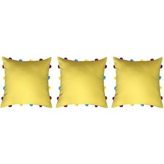 Lushomes Lemon Chrome Cushion Cover with Colorful pom poms (3 pcs, 14 x 14)