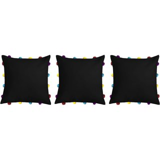 Lushomes Pirate Black Cushion Cover with Colorful pom poms (3 pcs, 14 x 14)