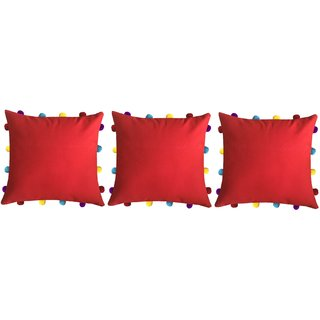 Lushomes Tomato Cushion Cover with Colorful pom poms (3 pcs, 14 x 14)
