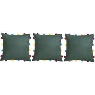 Lushomes Vineyard Green Cushion Cover with Colorful pom poms (3 pcs, 14 x 14)