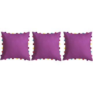 Lushomes Bordeaux Cushion Cover with Colorful Pom pom (3 pcs, 18 x 18)