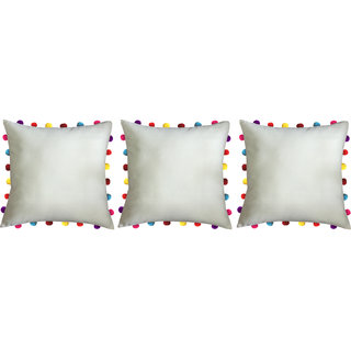 Lushomes Ecru Cushion Cover with Colorful Pom pom (3 pcs, 18 x 18)