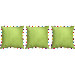 Lushomes Palm Cushion Cover with Colorful Pom pom (3 pcs, 18 x 18)