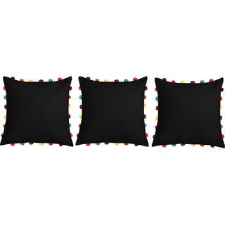 Lushomes Pirate Black Cushion Cover with Colorful Pom pom (3 pcs, 18 x 18)