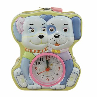 AVMART Yellow Two Puppies Coin Bank with Lock  Table Analog Alarm Clock