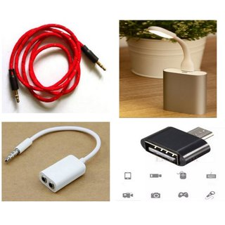 Combo 4 in 1 Cool Accessories (1 x Flat Aux cable + 1 x Aux Splitter + 1 x Led Light + 1 x OTG Adapter) Assorted colors