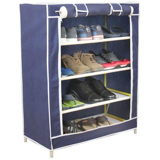 Style Maniac Brings Multicolor Shoe Rack 4 Shelves Metal Collapsible Shoe Stand