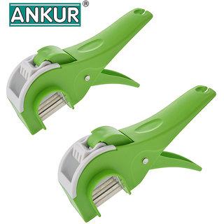 Ankur Plastic Vegetable Cutter Regular, Green (Set of 2)