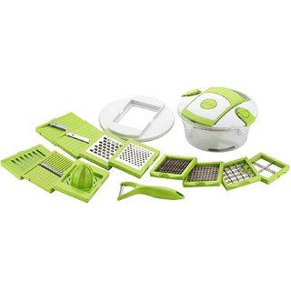 Ankur 12 in 1 Fruit and Vegetable Cutter - Chopper, Grater, Slicer , Peeler - Green (Set of 1)