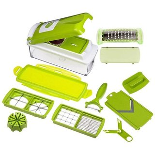 IBS Multipurpose Vegetable Cutter Slicer Grator 12 stainless ssteel blades kitchen tool Chopper  (Green)