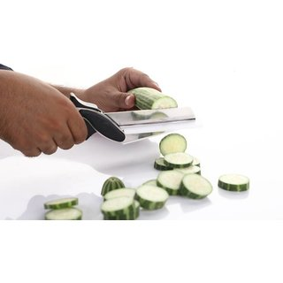 New  smart cutter 2 in 1 food chopper/vegetable fruit cutter/kitchen vegetable scissors/knife/chopping/cutting board wit