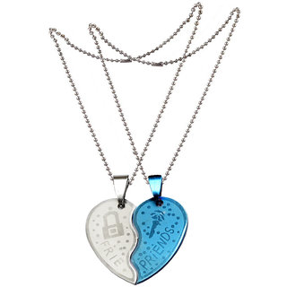 Men Style New 2 pcs Couple Heart Love Key  For Friendship Gift (2 pieces - his and her) Silver and Blue Stainless Steel Heart Pendant