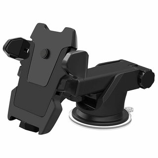 SCORIA Universal Car Mobile Holder/Car Mount Long Neck 360 Rotation Dashboard & Windshield One Touch Technology for Mobiles (Black)