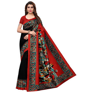 Swaron Multicolor Poly Silk Printed Saree with Unstitched Blouse