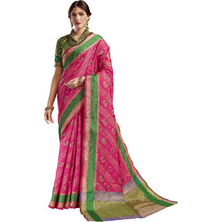 Ashika Gadwal Cotton Silk Dark Fuscia Saree for women with Blouse Piece