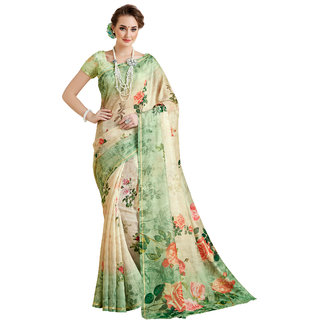 Ashika Shaded Light Green Cotton Printed Gadwal Saree for Women with Blouse Piece