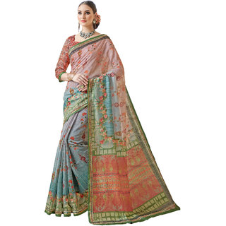Ashika Shaded Peach Light Blue Cotton Printed Gadwal Saree for Women with Blouse Piece