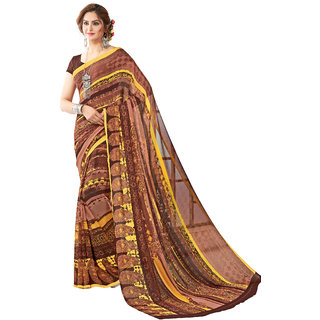 Ashika Printed Party Wear Shaded Dark Chocolate Brown Georgette Saree for Women with Blouse Piece