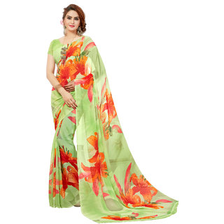 Ashika Printed Party Wear Shaded Pista Green Georgette Saree for Women with Blouse Piece